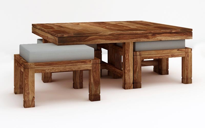 Coffee Table With 4 Stool In Solid Sheesham Wood
