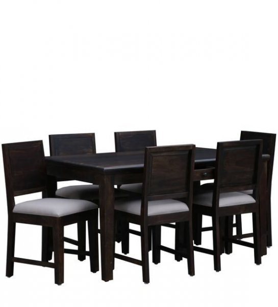 Solid Wood 6 Seater Dining Set in Walnut Finish