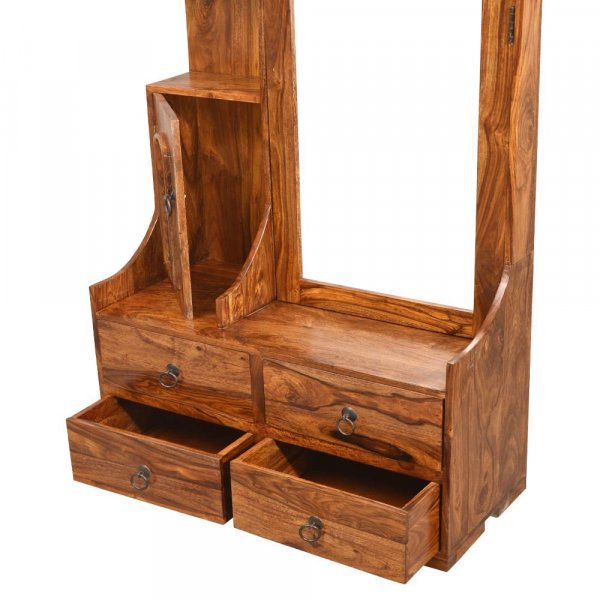 Solid Wooden Dressing Table With Mirror (Honey)