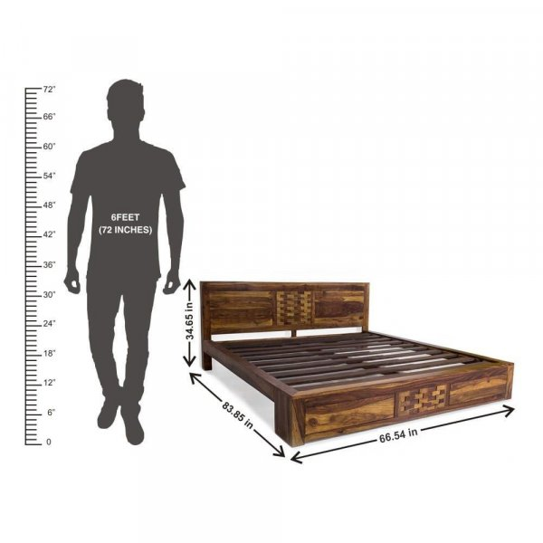 Solid Wood Queen Bed Without Storage