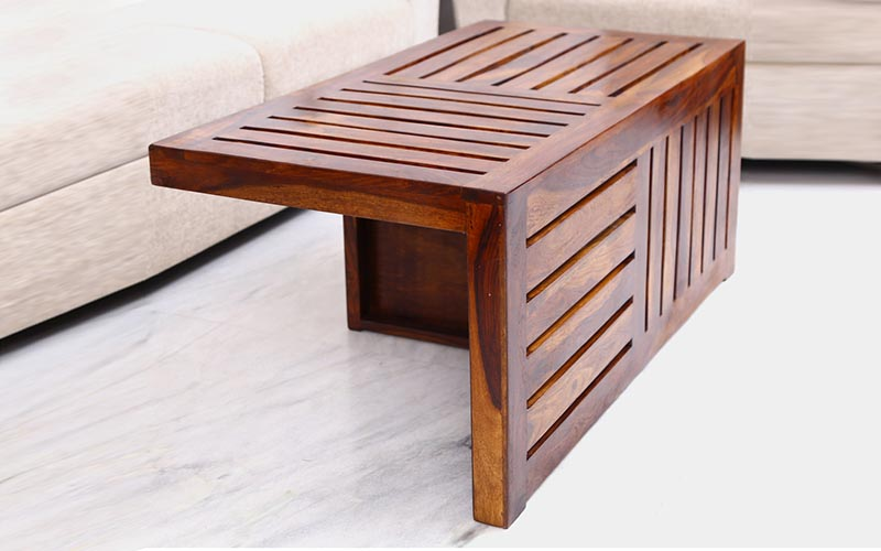 Coffe Table With Stoo Solid Sheesham Wood