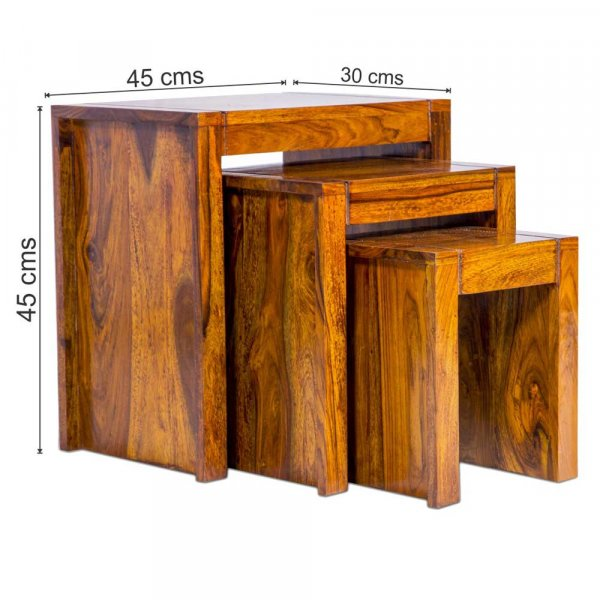 Arie Nest of Tables Solid Wood Top Stool set of 3