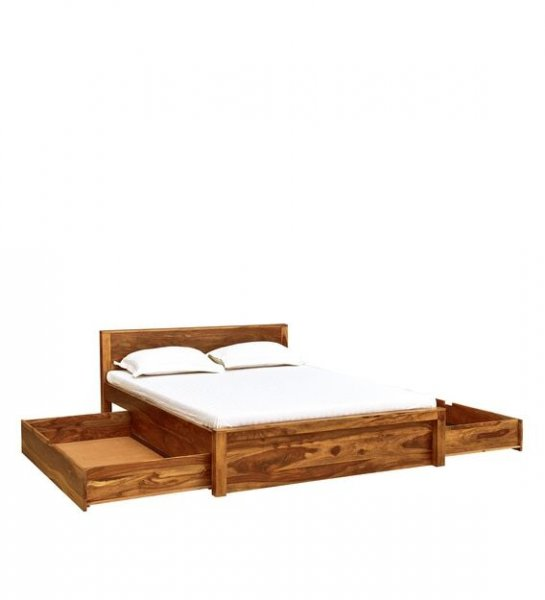 Wooden Bed With Side Drawer