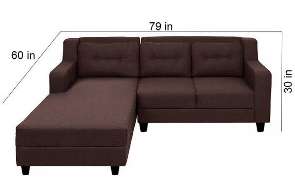 L Shape Sofa Set in Brown Colour