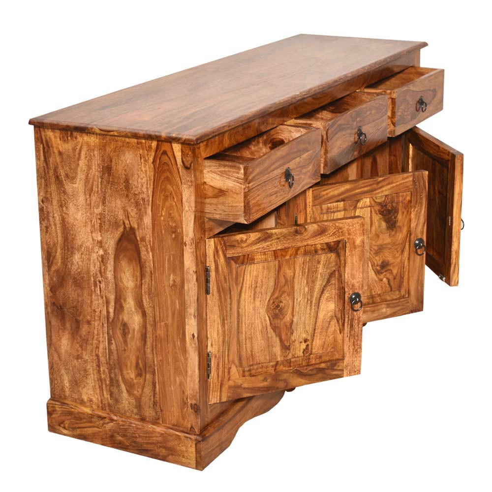 Solid Wooden  Sideboard With  Three Drawers In Honey