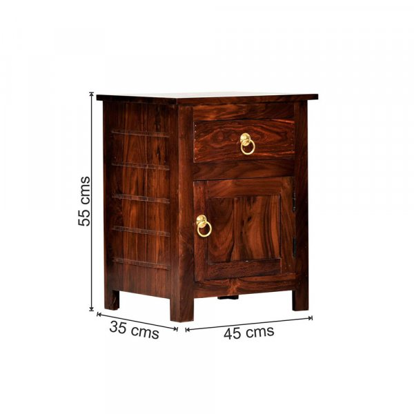 Sheesham Wood Bedside Table for Bedroom