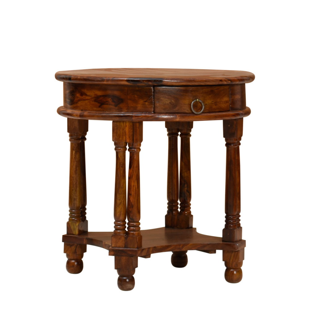 Solid Sheesham Wood Round Set Of Two Side Table