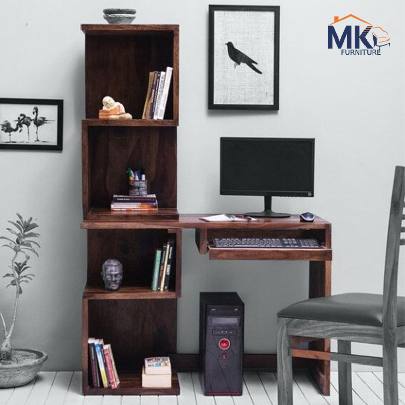 Solid Wood Study Table With Bookshelves - Teak Finish