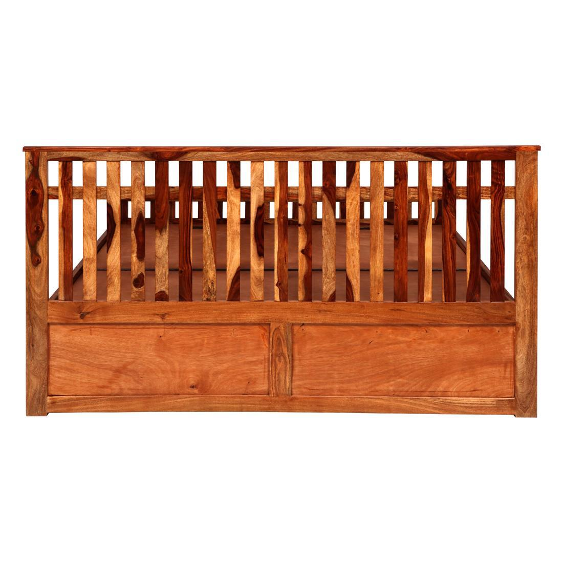 Solidwood Queen Bed Pull Out Storage - Honey
