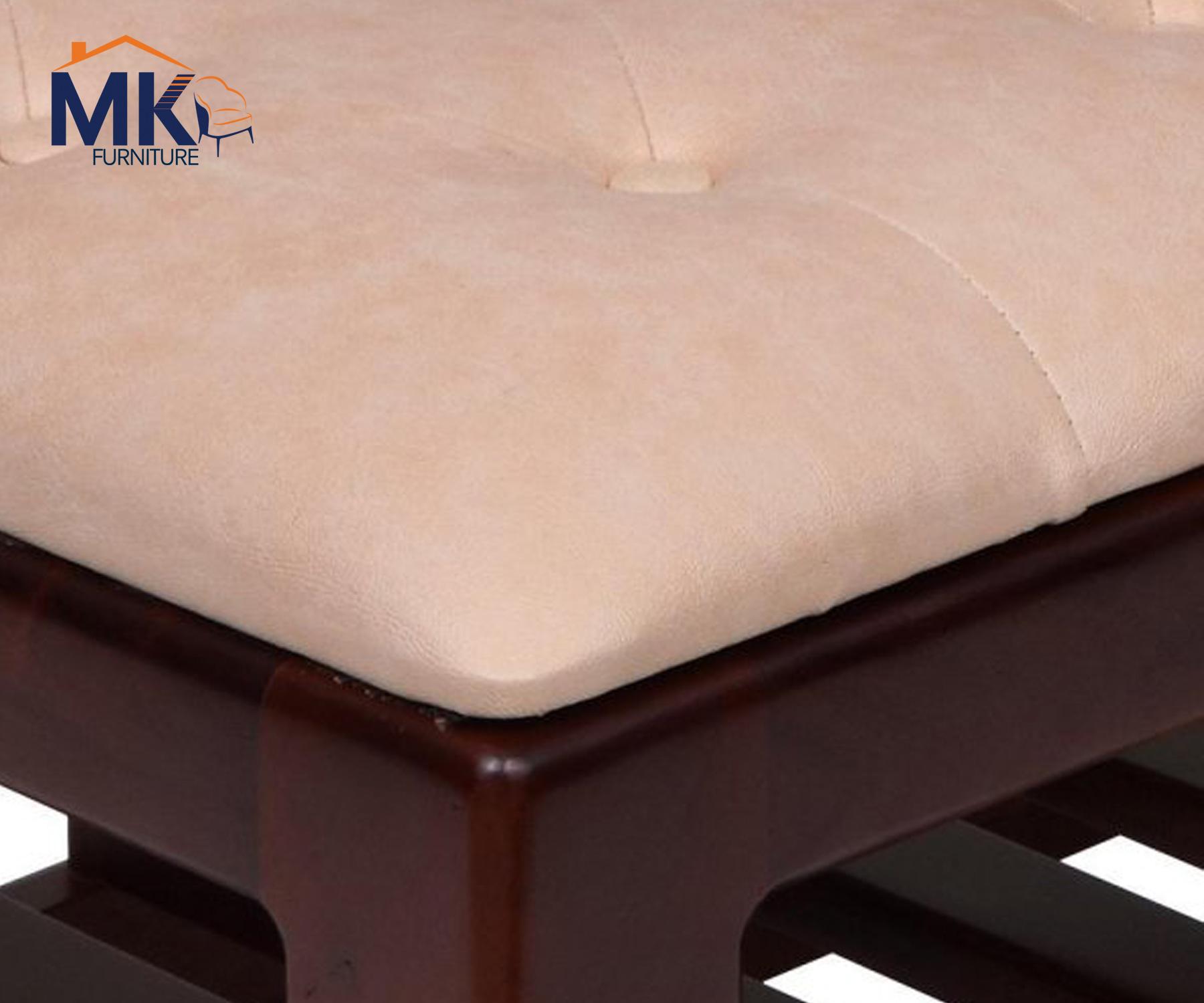 Solidwooden  Bench With  Rack-Walnut/Beige