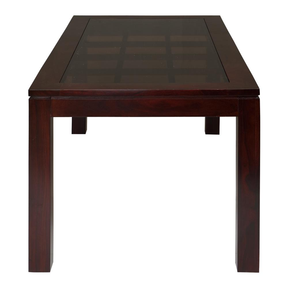 Solid Wooden 6 Seater  Dining   Table Glass Top