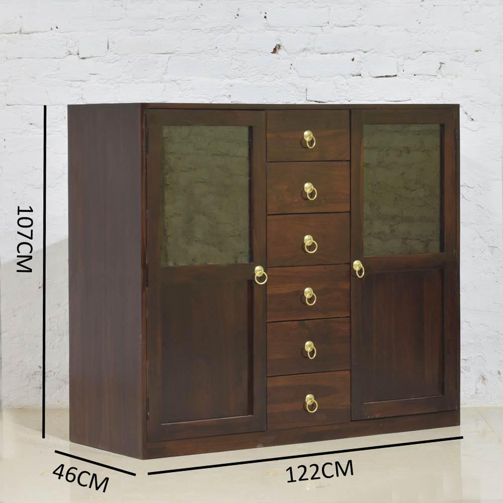 Earnville  Solid Wood  Kitchen  Cabinet In Walnut Polish