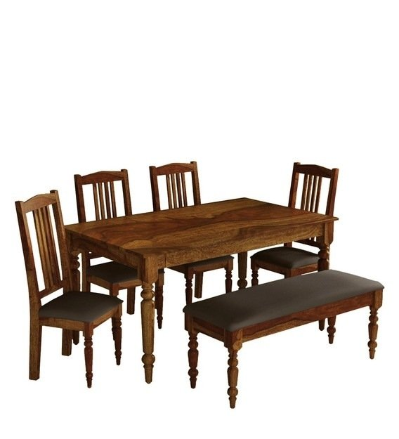 Solid Wood 6 Seater Dining Set with Bench in  Teak Finish