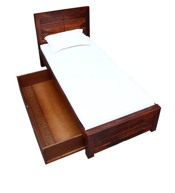 Solid Wood Single Bed with Storage