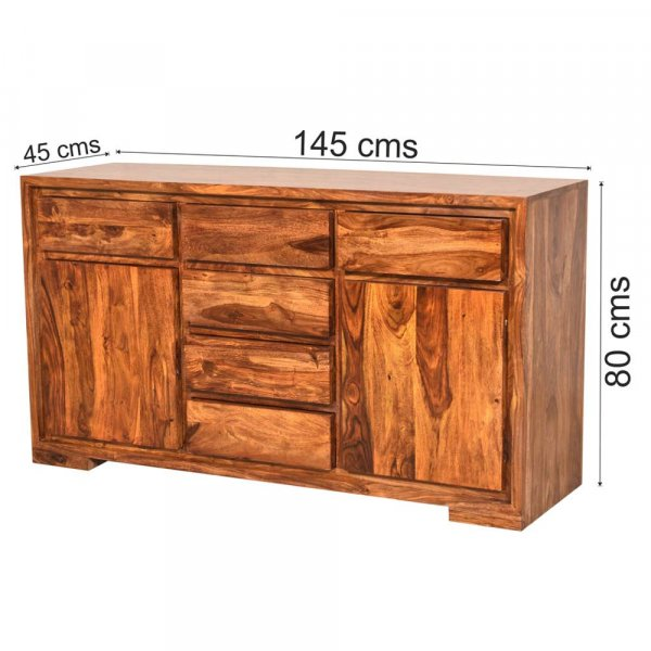 Wooden Sideboard & Cabinet  With Six Drawers In Honey