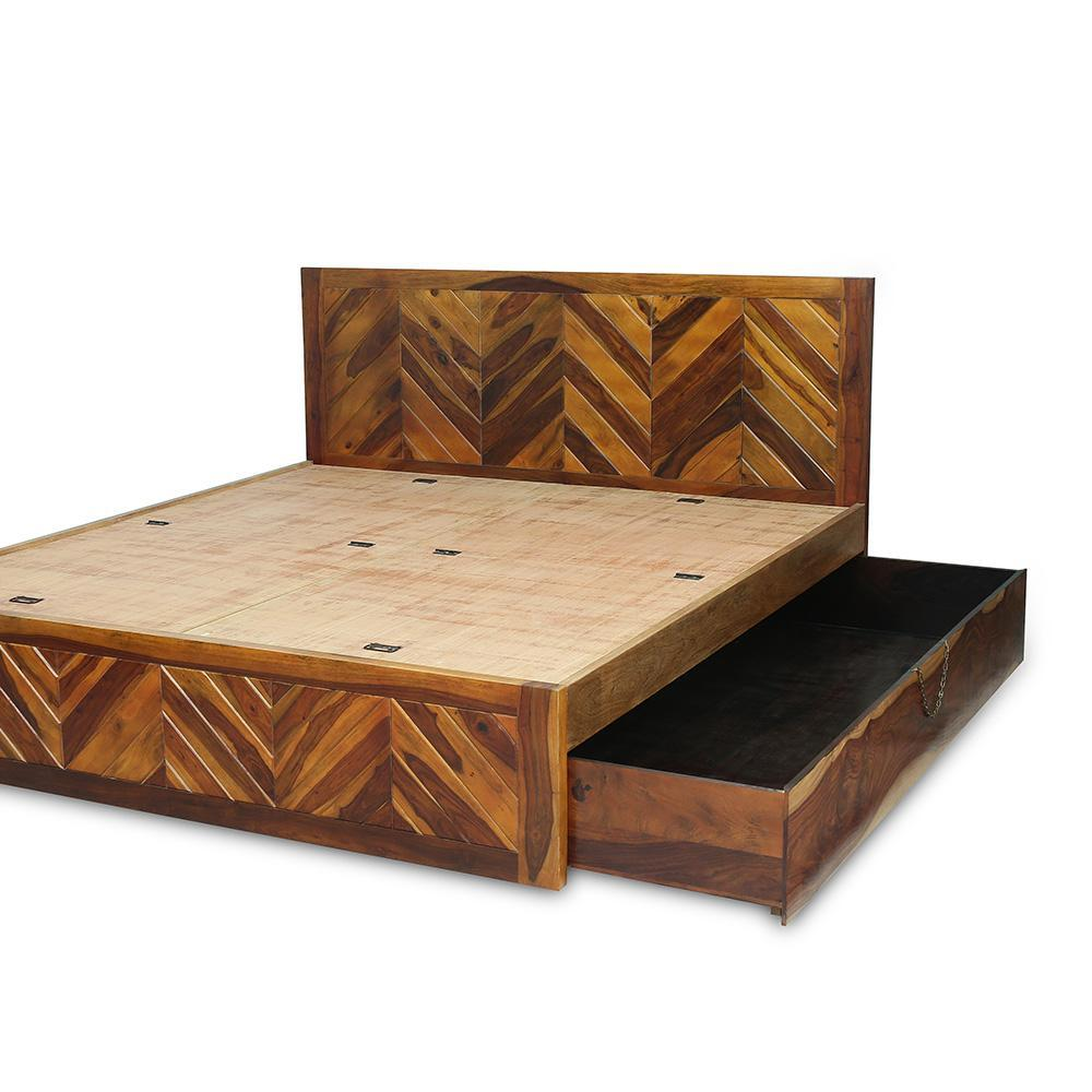 Wooden Queen Size Bed With Top Opening And Side Drawer