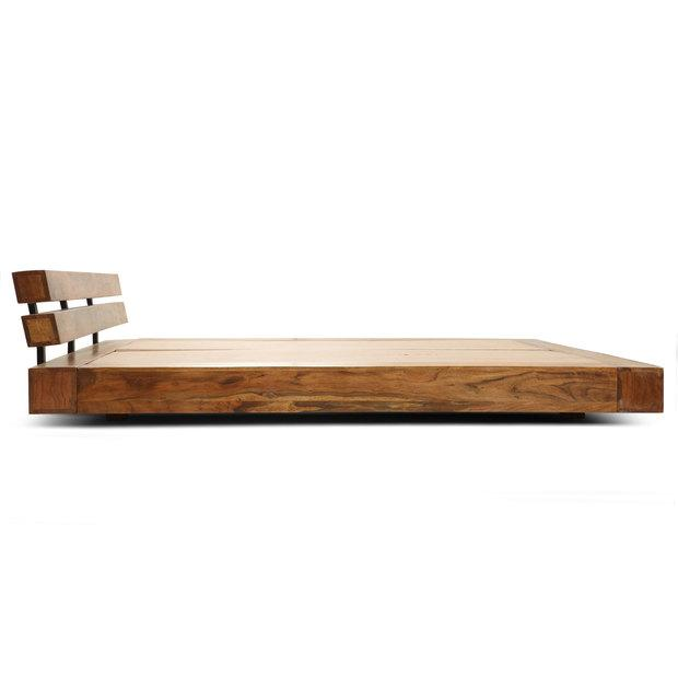 Low Sitting King Size Bed-Honey Finish