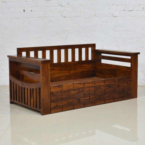 Solid Wood Sofa Cum Bed (Honey)