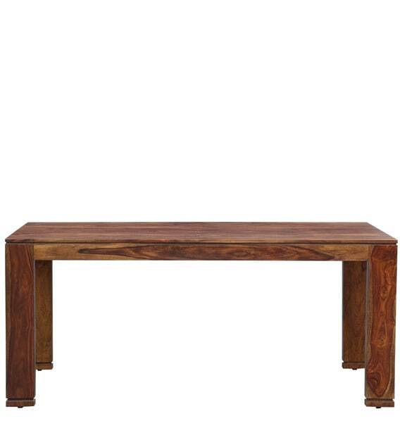 Solid Wood 6 Seater Dining Set in  Teak Finish