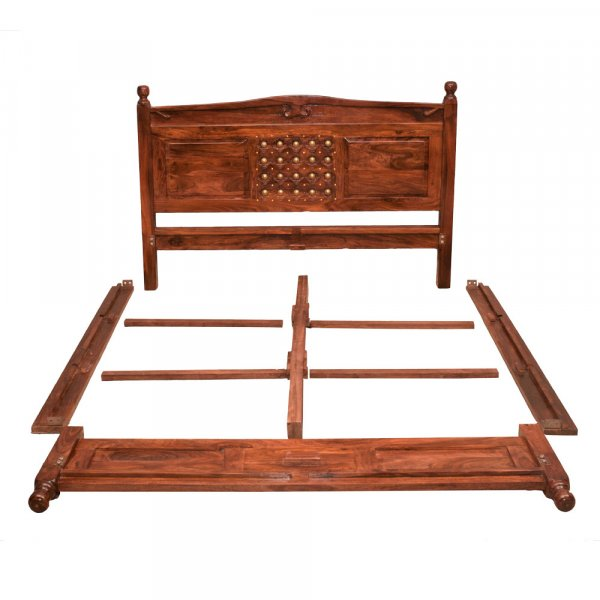 Solid Wooden  Bed Without Storage Queen Size