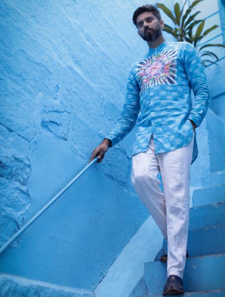 Anush Blue Linen Shirt with White Linen Pants