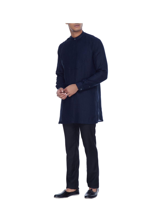Jigar Blue Linen Bib Style Shirt