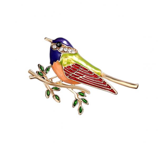 Pearl Oriole Bird Brooch