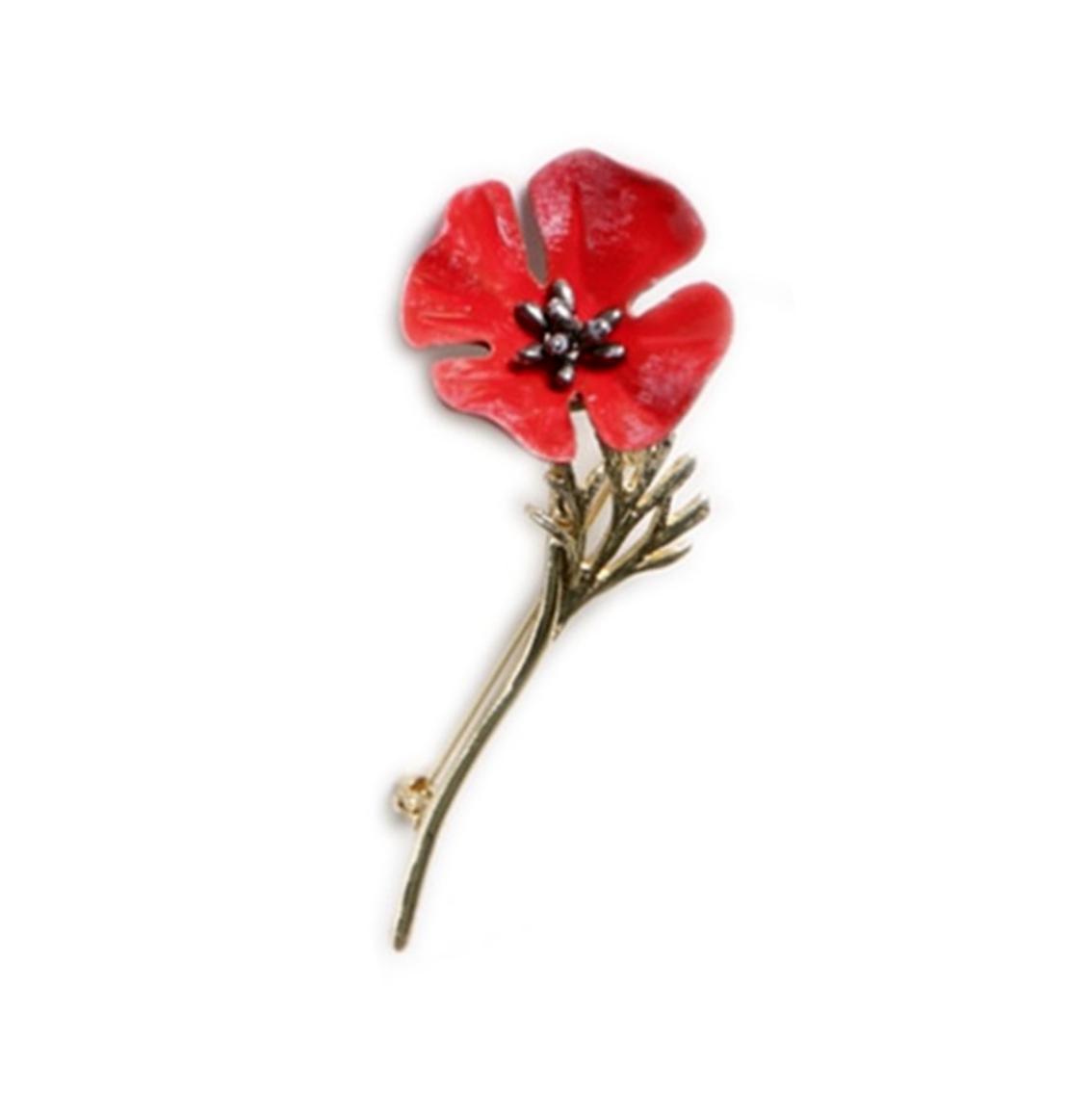 Poppy Floral Brooch