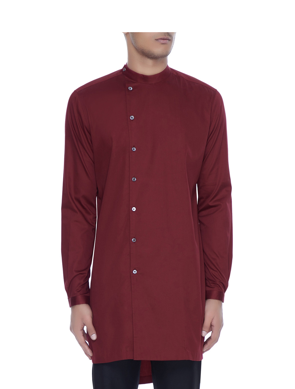 Amaranth Maroon Kurta Style Shirt