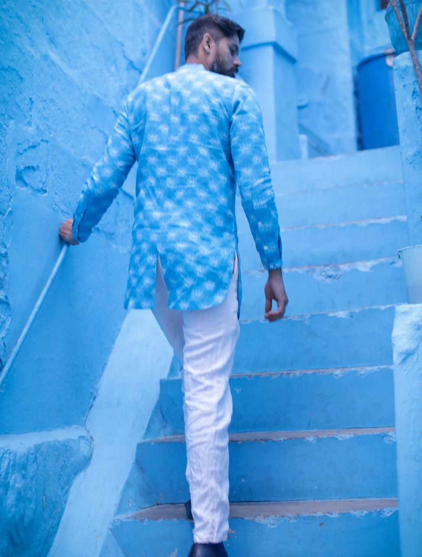 Anush Blue Linen Long Shirt