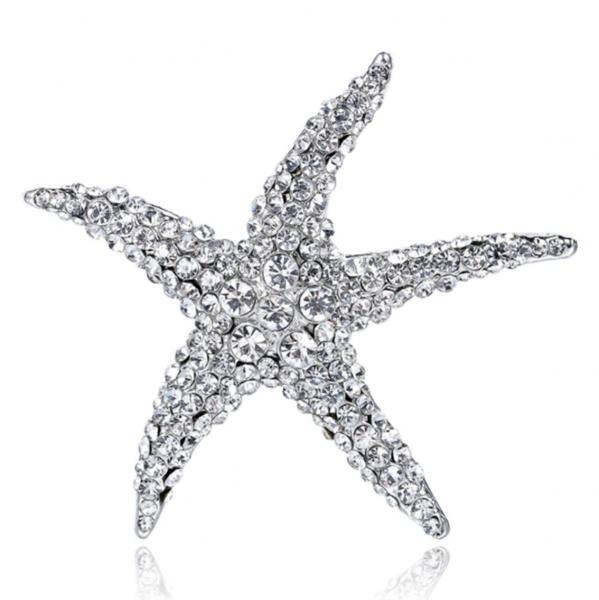 Silver Starfish Brooch