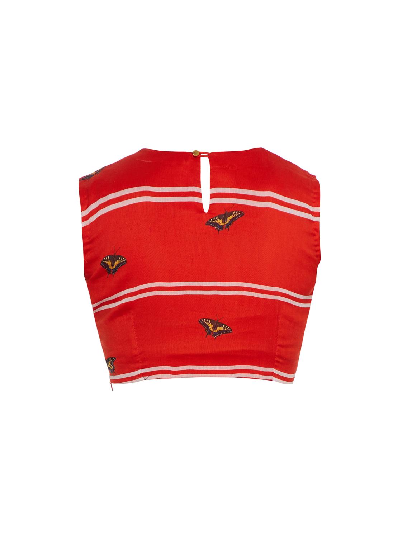 Ariel Ravishing Red Sleeveless Blouse