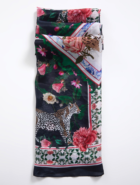 Black Leopard Silk Scarf