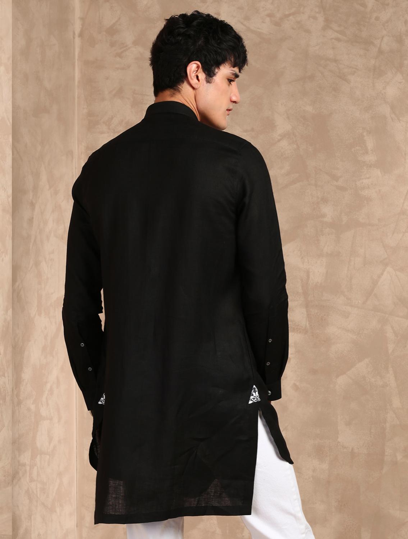 Kaal Linen Black Cowl Shirt