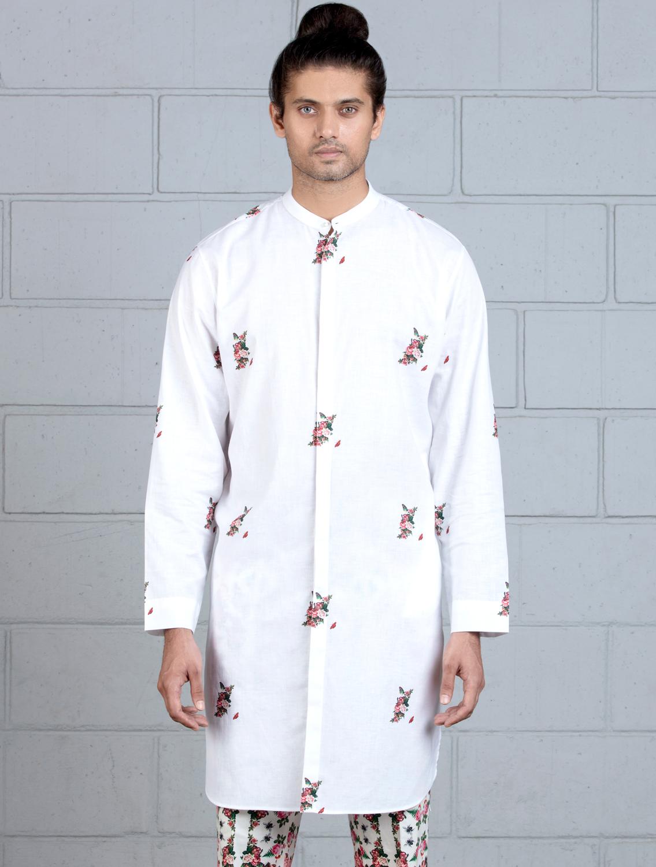 Regular Handloom Cotton Kurta with Buta Print