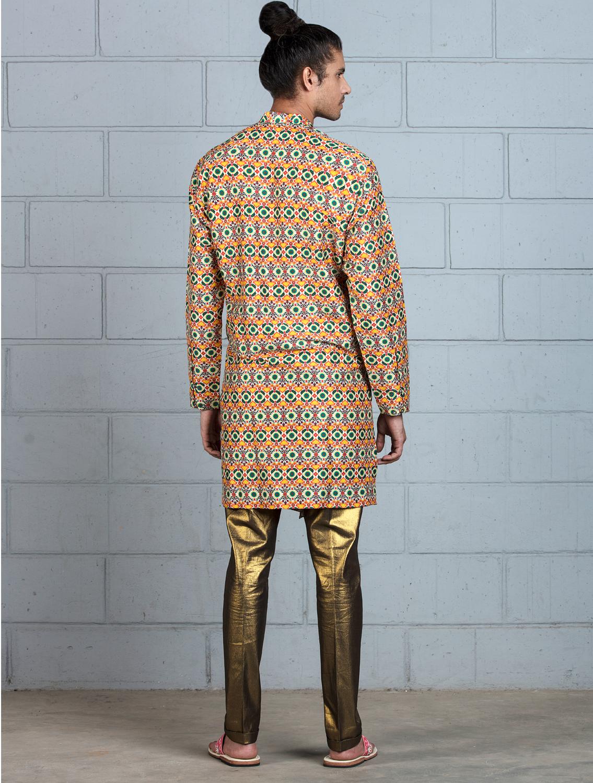 Benares Silk Kurta with asymmetrical placket