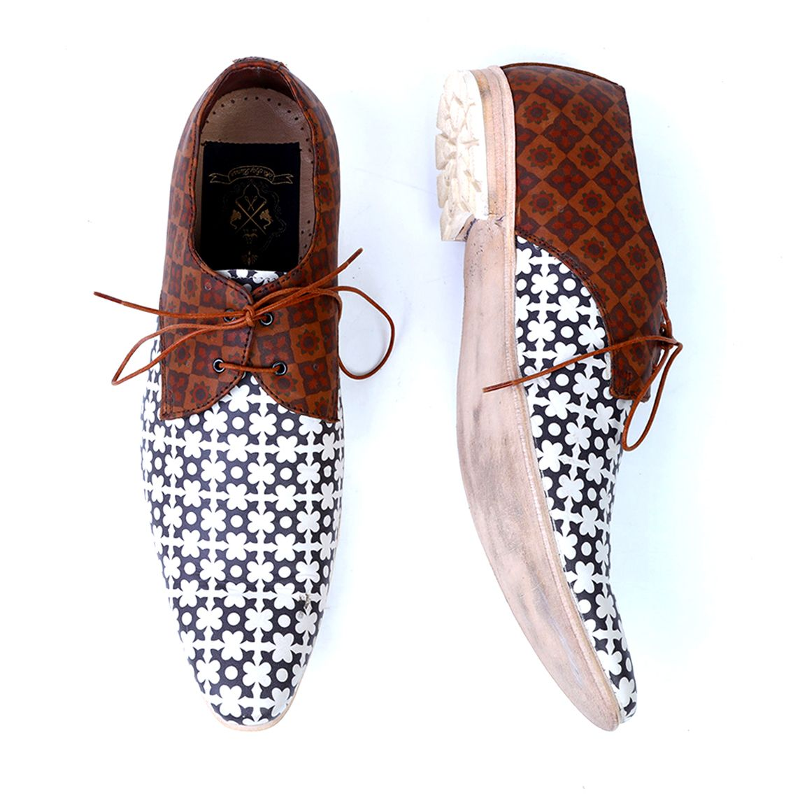 Kazi Handcrafted Leather Printed Shoes
