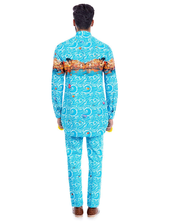 Moksh Blue Printed Trousers