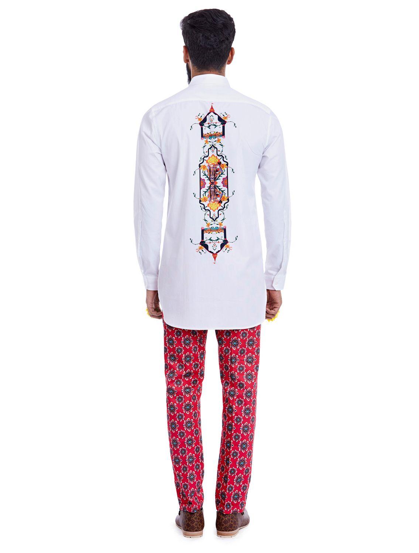 Dhamek Central Print White Shirt