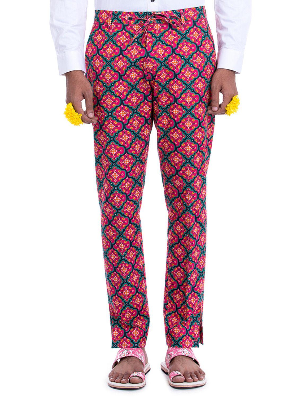 Avimukta Red Linen Printed Trousers