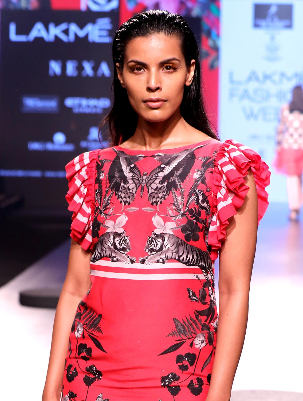 Pink Tigris Ruffled Dress