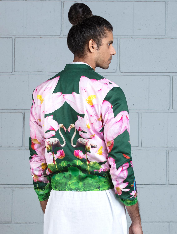 Green Lotus Bomber Jacket