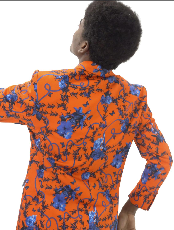 Jahan Orange Printed Blazer