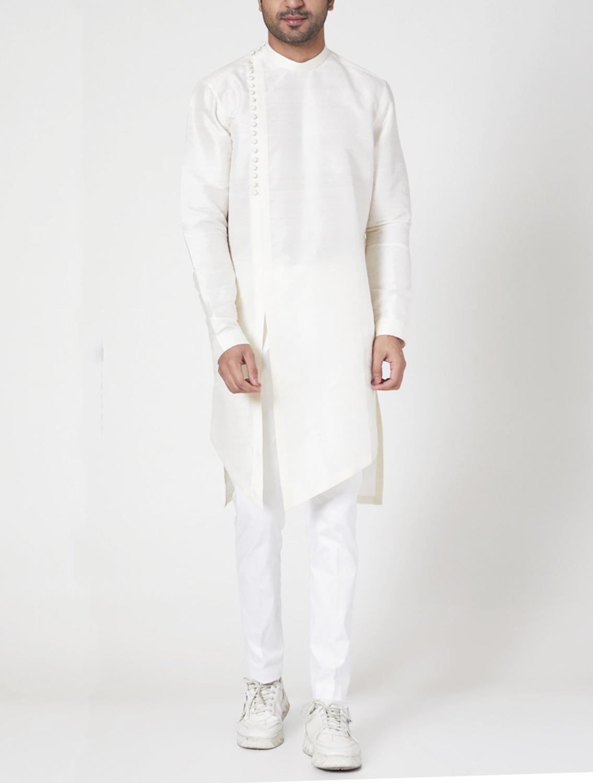 Aasman Off-White Raw Silk Kurta Set