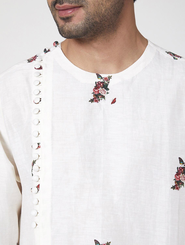 Saavan Off-White Angharkha Kurta Pyjama Set