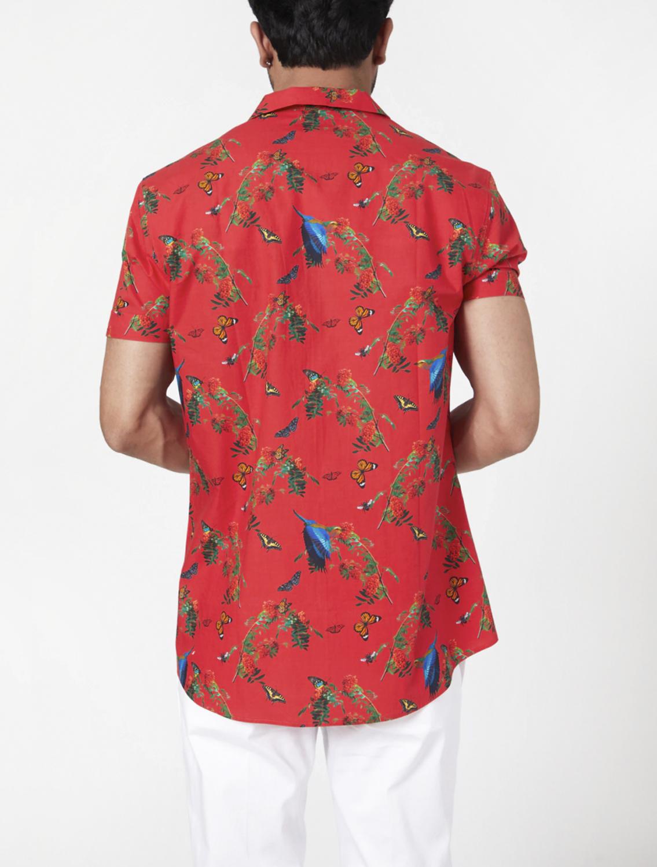 Red Jungle Camp Collar Printed Shirt