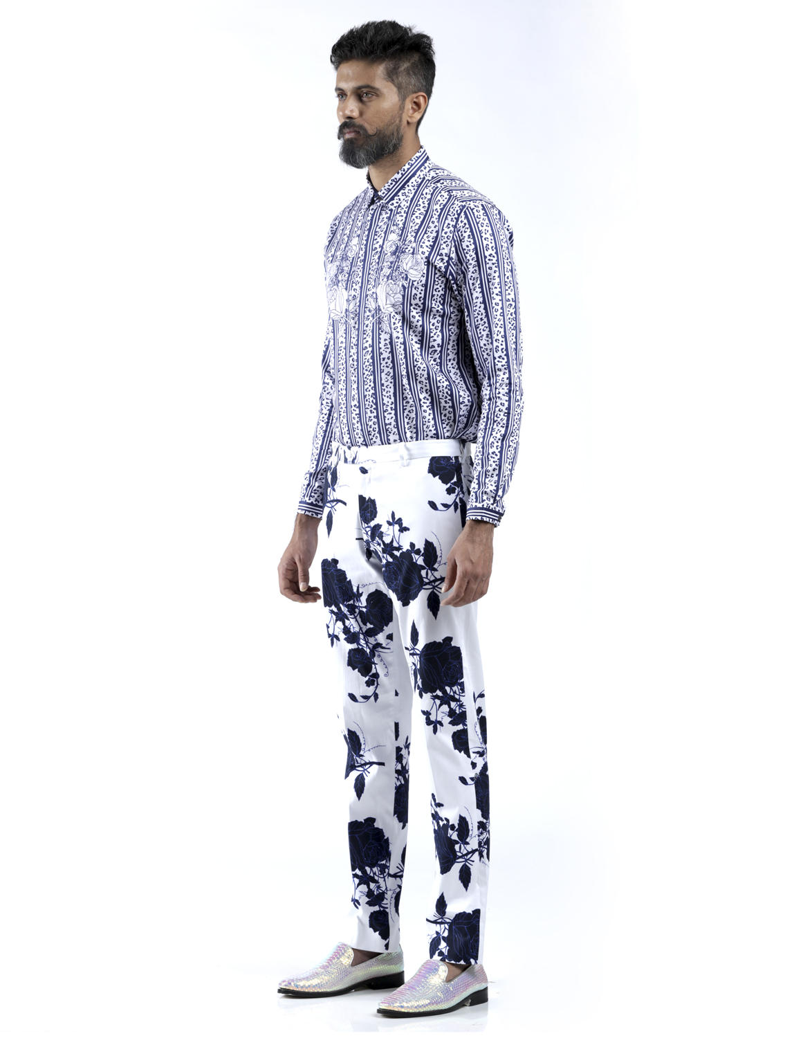 Blue Rose Printed Trousers