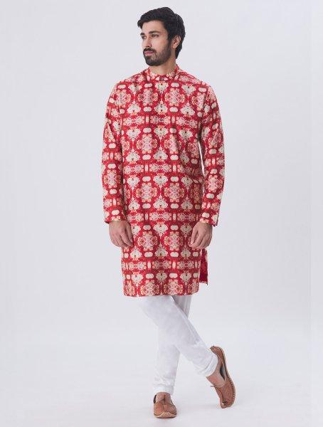 Veda Silk Linen Printed Kurta Pyjama Set