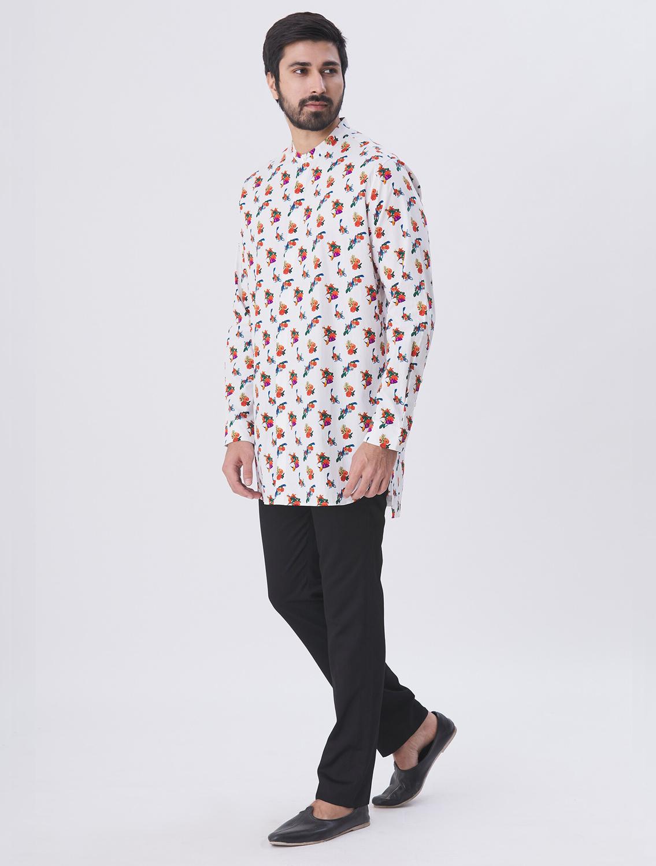 Oliver Mandarin Collar Printed Shirt