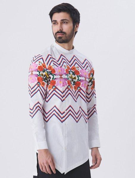 Nicholas White Angharkha Style Shirt